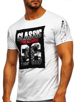 Bolf Herren T-Shirt mit Motiv Weiß  SS218