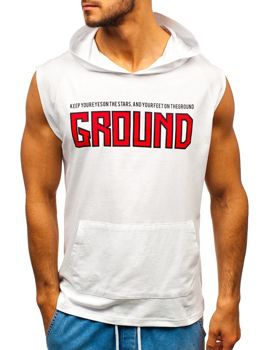 Bolf Herren T-Shirt mit Motiv und Kapuze Weiß  2859