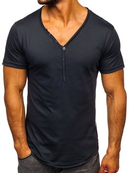Bolf Herren T-Shirt ohne Motiv Schwarzgrau  4049