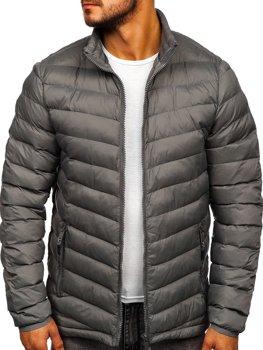 Bolf Herren Übergangsjacke Sport Jacke mit Steppmuster Schwarzgrau  SM70