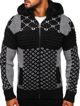 Bolf Herren Warmer Pullover mit Kapuze Aufknöpfbar Jacke Schwarz  2060