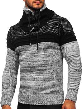 Bolf Herren Warmer Pullover mit Stehkragen Grau  2058