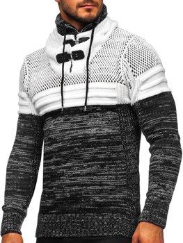 Bolf Herren Warmer Pullover mit Stehkragen Schwarz  2058
