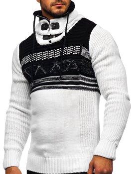 Bolf Herren Warmer Pullover mit Stehkragen Weiß  2020
