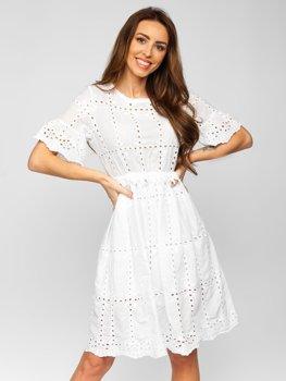 Damen Kleid aus Baumwolle Boho Style Weiß  2185