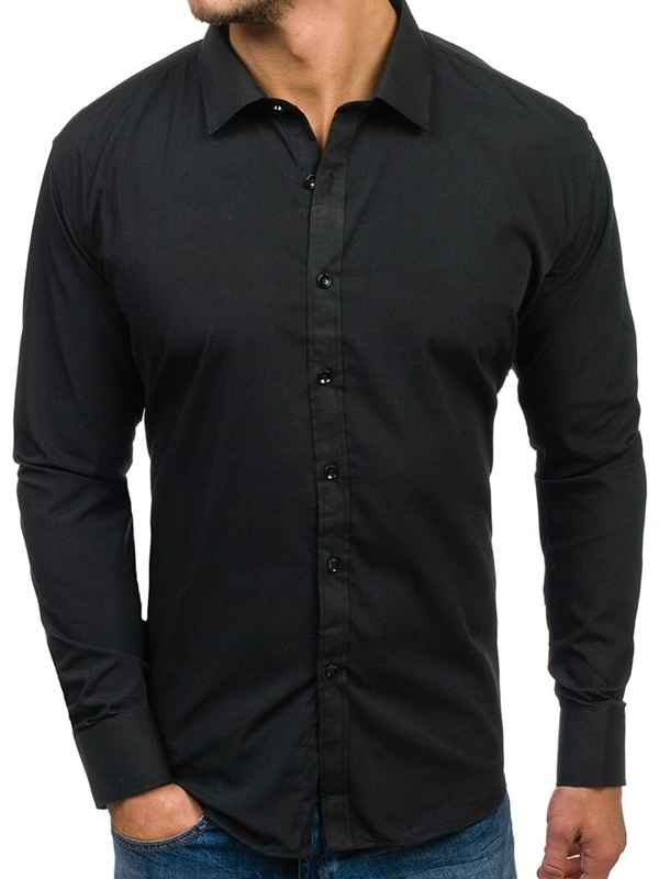 Bolf Herren Hemd Elegant Langarm Schwarz  001