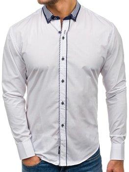 Bolf Herren Hemd Elegant Langarm Weiß  6941