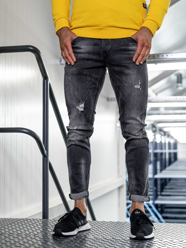 Bolf Herren Jeans Hose slim fit Schwarz  KX318