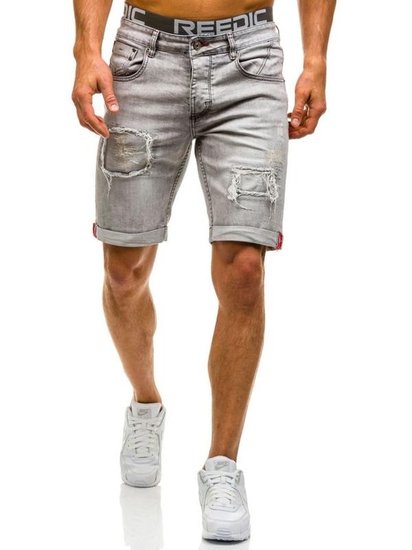 Bolf Herren Jeans Shorts Grau 9603