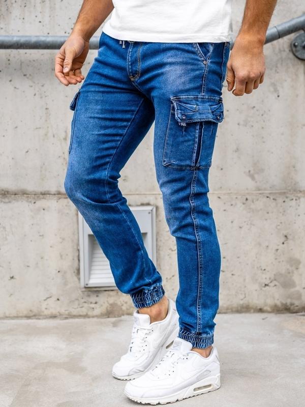 Bolf Herren Jeanshose Jogger Pants Dunkelblau  KA1311-1