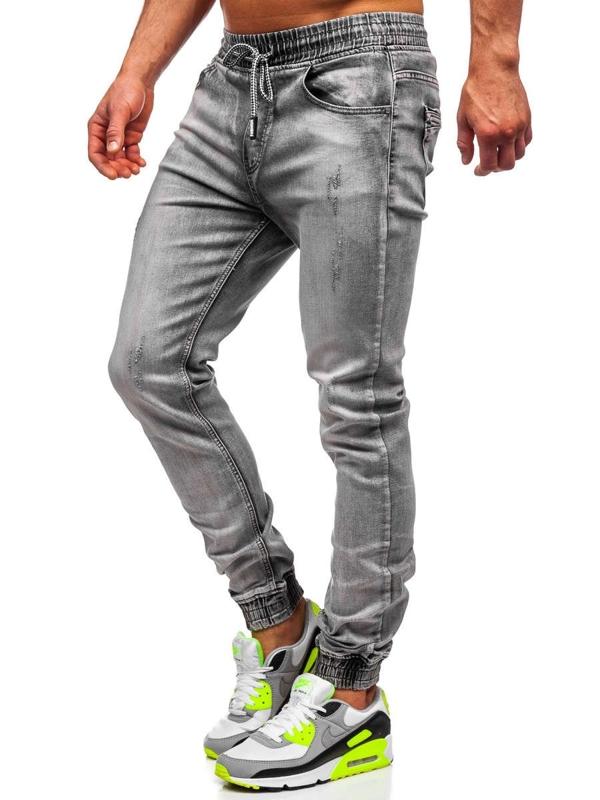 Bolf Herren Jeanshose Jogger Pants Schwarz  KA1828-1