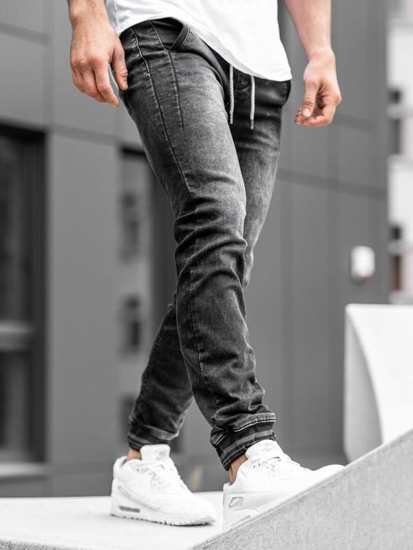 Bolf Herren Jeanshose Jogger Schwarz   KA688