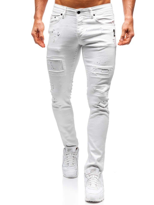 Bolf Herren Jeanshose Weiß  4020
