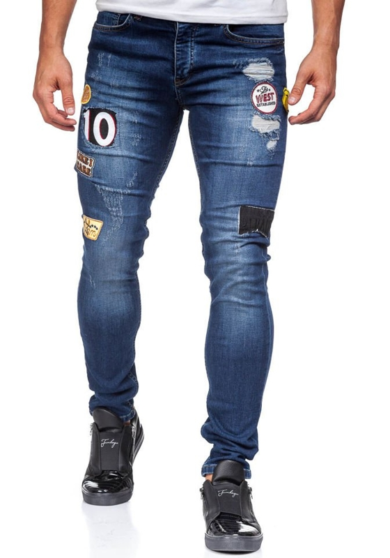 Bolf Herren Jeanshose skinny fit Dunkelblau  298