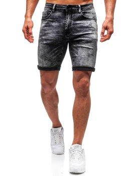 Bolf Herren Kurze Jeanshose Schwarz  T571