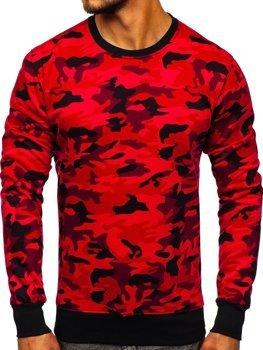 Bolf Herren Sweatshirt ohne Kapuze Camo-Rot  DD129-2