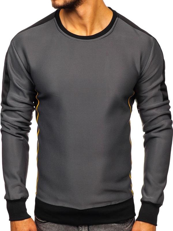 Bolf Herren Sweatshirt ohne Kapuze Schwarzgrau  DD737