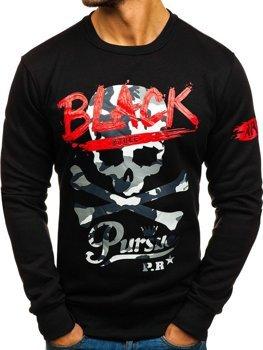 Bolf Herren Sweatshirt ohne Kapuze mit Aufdruck Schwarz  DD228