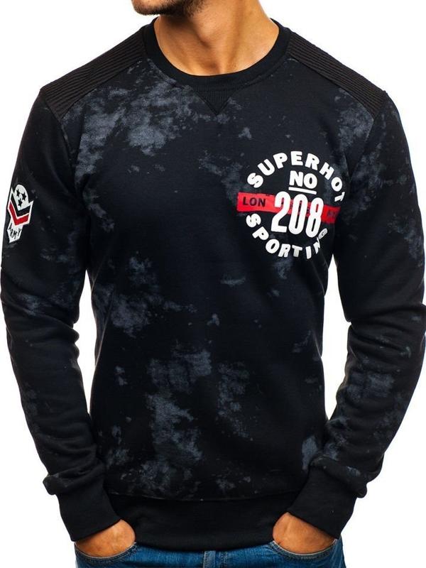 Bolf Herren Sweatshirt ohne Kaupze mit Motiv Schwarz  DD251