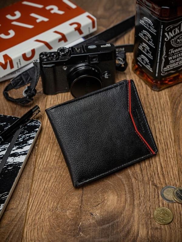 Herren Leder Geldbörse Schwarz Rot 2055