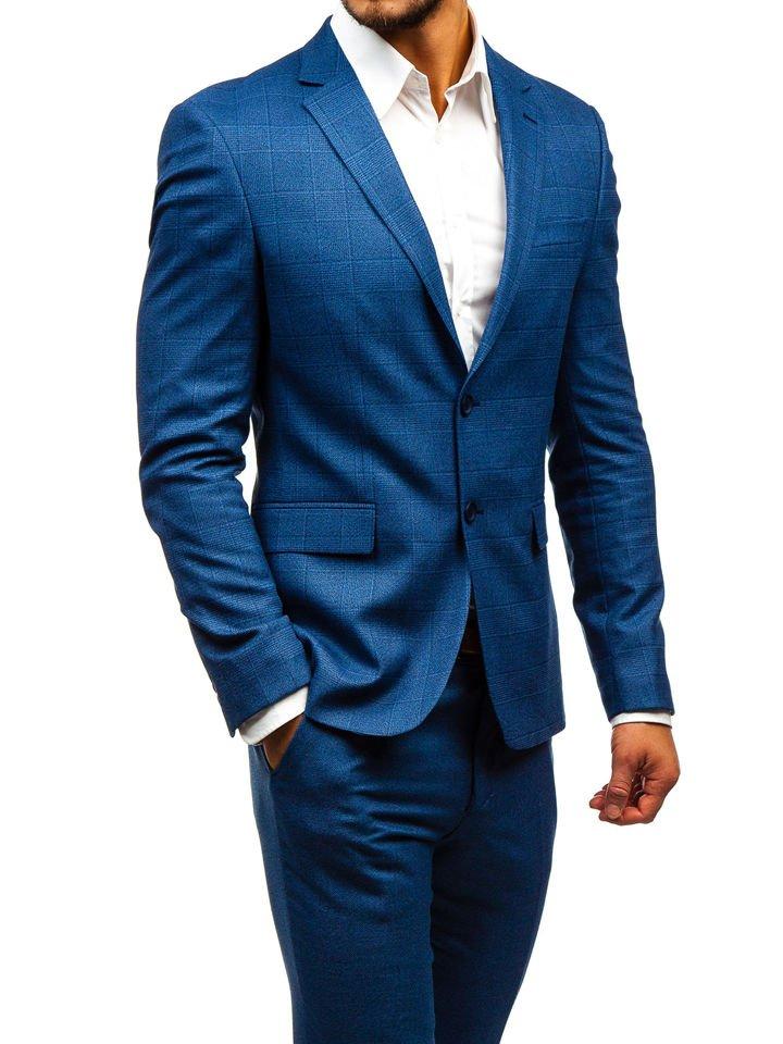 Bolf Herren Anzug mit Weste Blau 18300