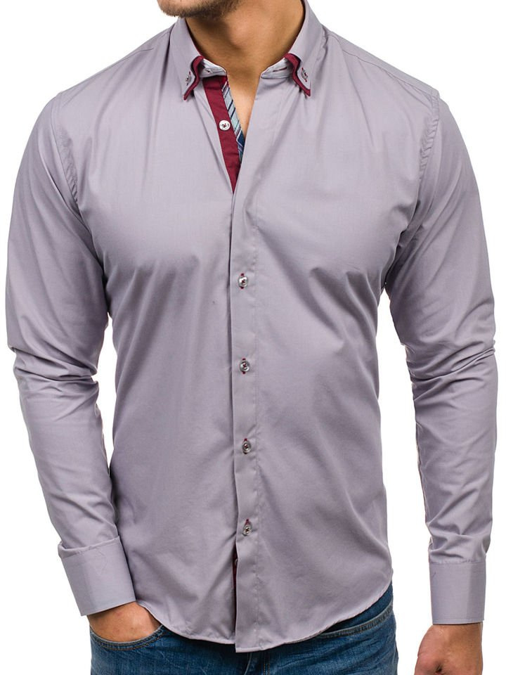 get cheap 0717d a4a90 Bolf Herren Hemd Elegant Langarm Grau 5895