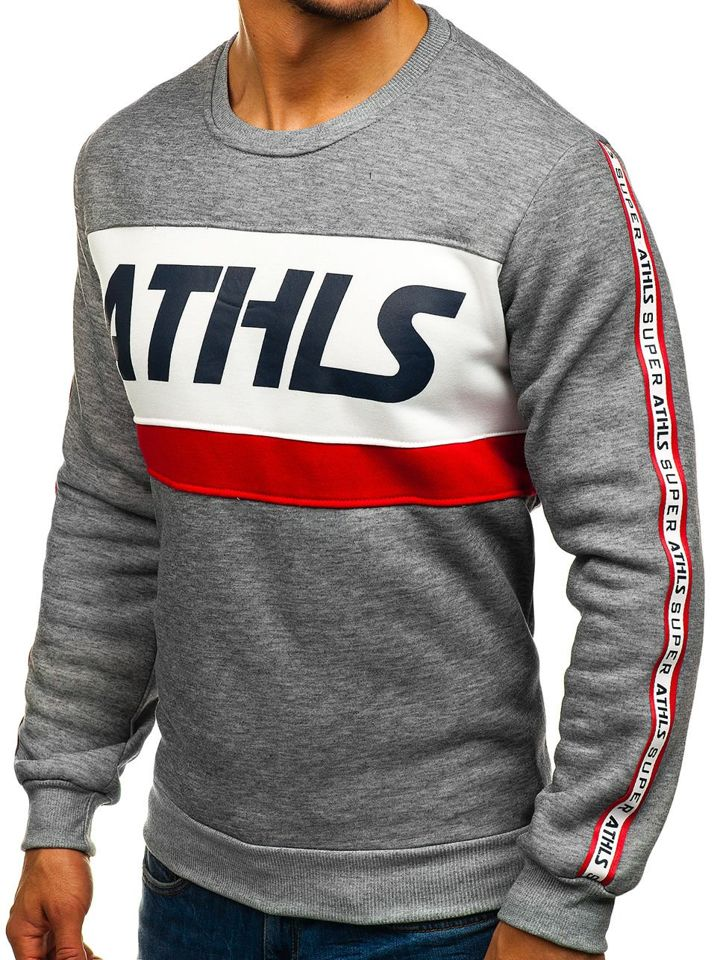 wholesale dealer f66a0 eee48 Bolf Herren Sweatshirt ohne Kapuze mit Motiv Grau HY295