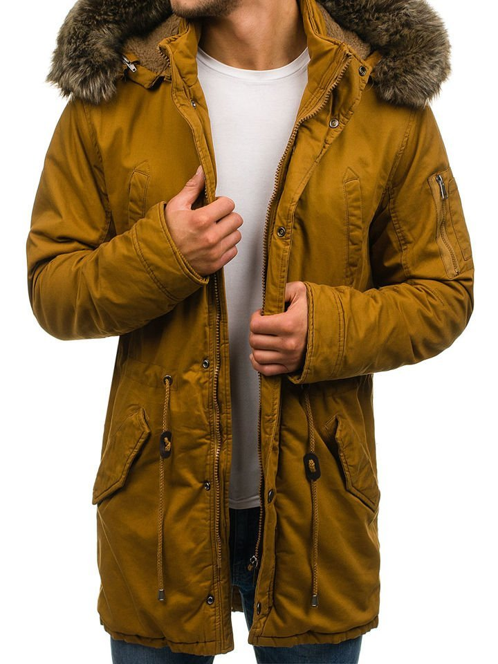 bolf herren winterjacke parka camel r63. Black Bedroom Furniture Sets. Home Design Ideas