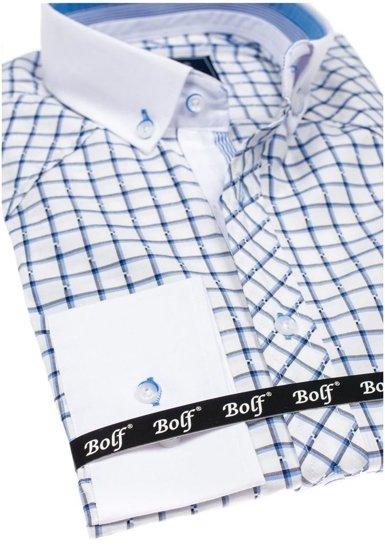 Bolf Herren Hemd Elegant Kariert Langarm Blau  6959