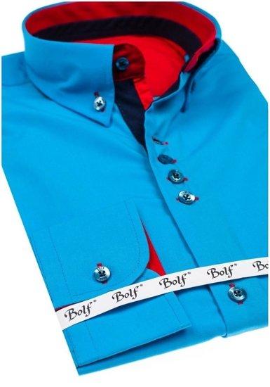 Bolf Herren Hemd Elegant Langarm Blau  6896-1