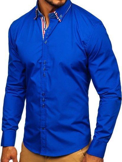Bolf Herren Hemd Elegant Langarm Mittelblau 0926