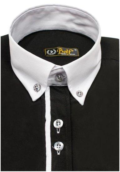 Bolf Herren Hemd Elegant Langarm Schwarz  5726