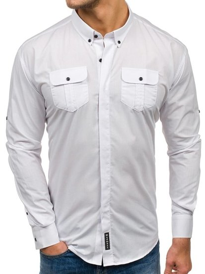 Bolf Herren Hemd  Elegant Langarm biała  0780