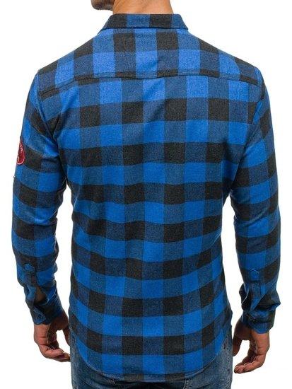 Bolf Herren Hemd Flanell Langarm Blau  2503