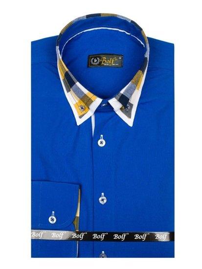 Bolf Herren Hemd Langarm Elegant Mittelblau 6966