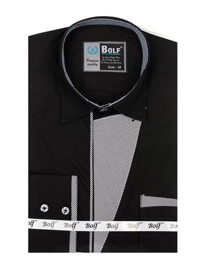 Bolf Herren Hemd Langarm Elegant Schwarz 4713