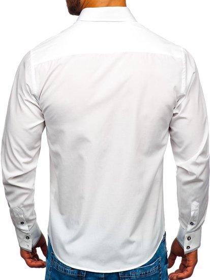 Bolf Herren Hemd Langarm Elegant Weiß 4713