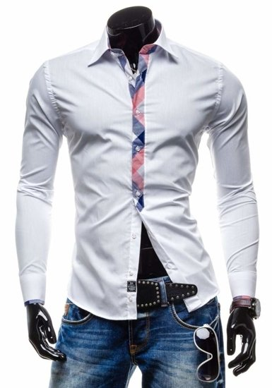 Bolf Herren Hemd Langarm Elegant Weiß 4770