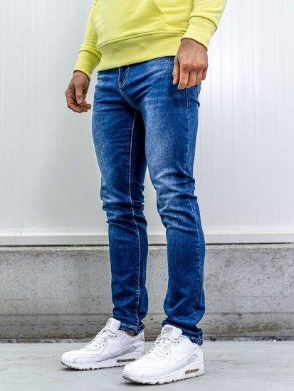 Bolf Herren Jeanshose mit Gürtel straight leg Dunkelblau  KA1767