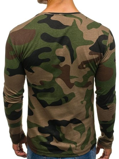 Bolf Herren Longsleeve Camouflage mit Motiv  Khaki  1086