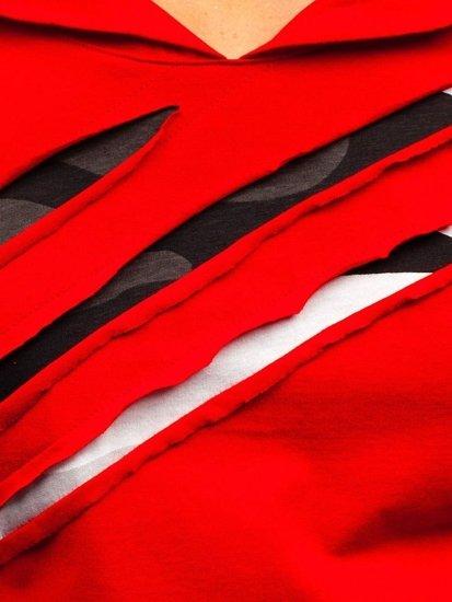 Bolf Herren Longsleeve mit Motiv Rot  1220