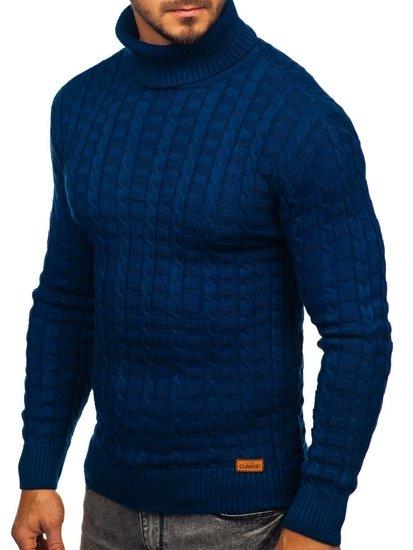 Bolf Herren Pullover Rollkragen Blau  16