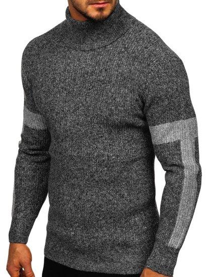 Bolf Herren Pullover Rollkragen Grau  H1927
