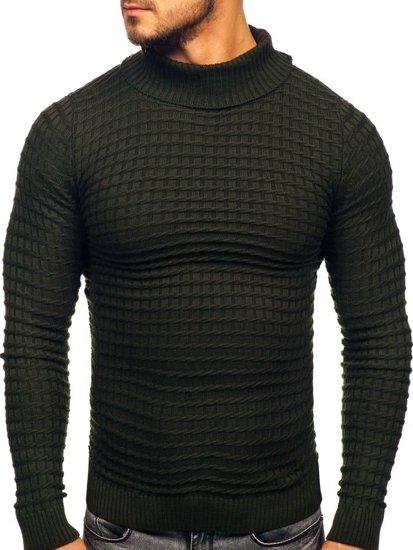 Bolf Herren Pullover Rollkragen Grün  4529