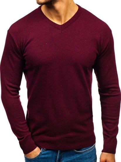 Bolf Herren Pullover mit V-Ausschnitt Weinrot  6002