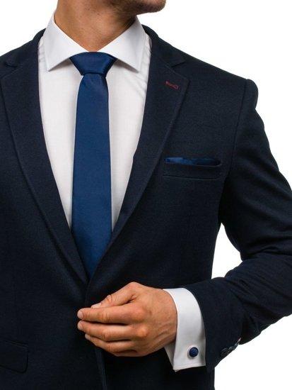 Bolf Herren Set Krawatte, Manschettenknöpfe, Einstecktuch Schwarzdunkelblau  KSP01