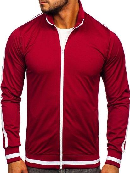Bolf Herren Sweatshirt mit Reißverschluss retro style Weinrot  2126