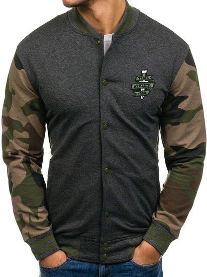 Bolf Herren Sweatshirt ohne Kapuze Anthrazit 0766