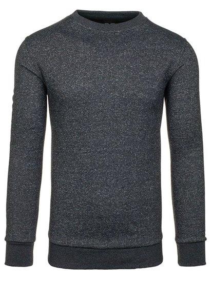 Bolf Herren Sweatshirt ohne Kapuze Dunkelgrau 01