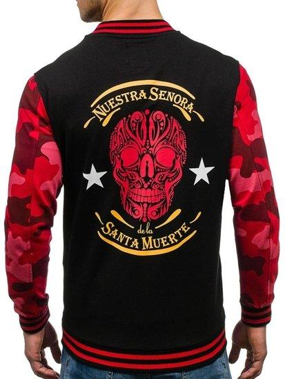 Bolf Herren Sweatshirt ohne Kapuze Schwarz-Rot 0844